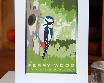 Greetings Card of a Great Spotted Woodpecker, Perry Wood, Selling, Kent (Card ID: CCWOS005)
