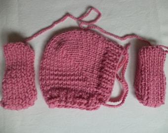 Baby Hat mittens knitted newborn set winter