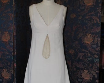 Evening dress,long,white,crepe of silk 60s