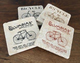 Vintage Bicycle Coaster Set, Home Decor, Cottage Chic, Cottage Gift, Tile Coasters, Drink Coasters, Travertine Coasters, Souvenir Coasters