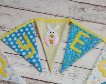 Easter bunting, Easter garland, flag bunting, happy easter bunting, bunny bunting, Easter gift, celebration, wall decor, children's bunting