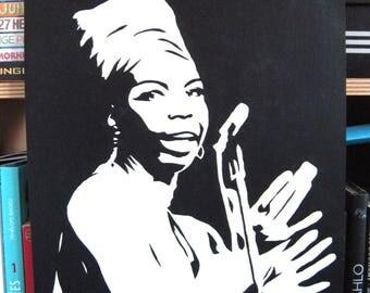 Nina Simone stencil portrait