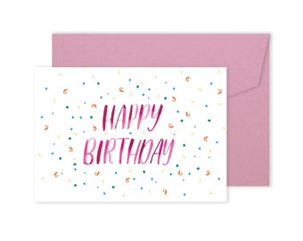 Happy Birthday Card - Hand lettered