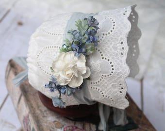 Newborn Girl Photo Prop Bonnet - White Newborn Bonnet Lace - Vintage Baby Bonnet - Blue Baby Bonnet - Lace Baby Bonnet