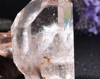 "2.56""Natural Clear Sliver Rutilated Quartz Point/Rare White Tourmaline  Rutilated Crystal Tower-65*40*34mm 103g"