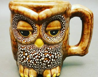 Vintage Owl Coffee Mug Cup 1981 Sleepy Owl