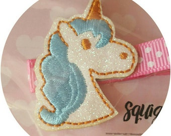 Unicorn Hair Clips Pink Blue OR Purple Shimmer Glitter 3 colours!