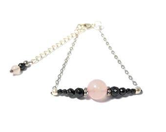Bracelet rose Quartz and Hematites in Silver 925