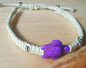 Turtle Macrame Bracelet, Macrame Bracelet, Bracelet, Knotted, Braided, Macrame, Custom Bracelet, Adjustable, Friendship, Turtle, Stone