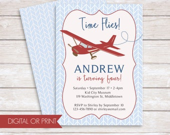 Airplane Invitation, Airplane Birthday Invitation, Vintage Airplane Invite, Time Flies Invitation, Printed Invitation, Printable Invitation