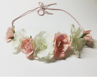 Silk Floral Crown-special occasion-bridal flower crown- flower girl crown- silk flower crown- wedding accessory- hair accessory-photo prop