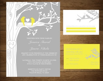 Love Bird Vertical Wedding Invitation and RSVP *Printed Version*