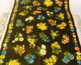 Vintage Irish linen tea cloth dish cloth flowers 1960s/70s, Floral brown Irish made linen 1960s/70s