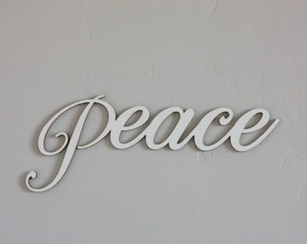 Peace wood word, wood Peace cutout, Holiday decoration, Christmas decoration, tree decor, Wreath words, gallery wall decor, craft wood words