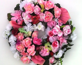 Spring Rose Wreath-The ROSES IN BLOOM Wreath-Pink Wreath-Valentines Day Wreath-Decorative Wreath-Easter Wreath-Pink Rose Wreath-Large Wreath