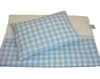 Blue Gingham Dolls Bedding Set