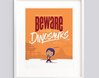 "Poster ""Beware of Dinosaurs"" Boys—Typographic poster, kids room wall art giclée print nursery - v1"