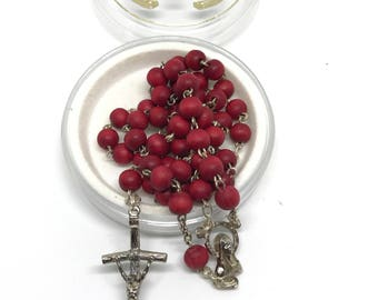 Vintage Red Rose Bead Rosary, Italian Rosary, Red Prayer Beads, Catholic Rosary, Y Necklace, Religious Necklace