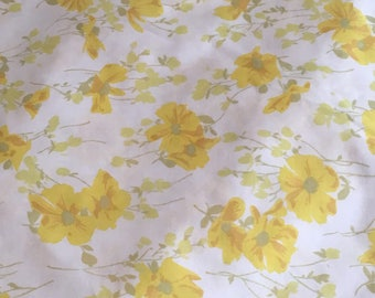 Vintage Bright Yellow Floral Twin Fitted Bed Sheet /  Yellow Pale Green Gold / Bed Linens / Repurpose