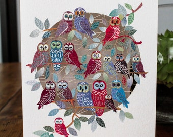 Owls on Tree Laser Greeting Card