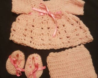 "Handmade crocheted doll clothes for 14-15"" reborn or similar doll."