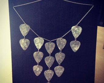Pearl white Guitar Picks Necklace