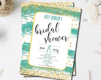 Turquoise Bridal Shower Invites | Glitter Bridal Shower Invitations | Gold Invitations | Turquoise Shower Invites | Teal | Mint