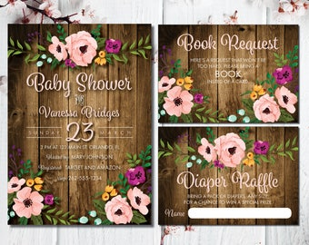 Couples Baby Shower Invitation | Rustic Baby Shower | Baby BBQ | BabyQ Invitation | Wood | Floral Baby Invite | Flowers | Wood Invite