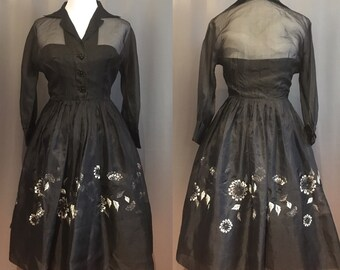 50's/60's Black Organza Party Dress with Floral Embroidery