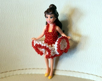 Marilyn Monroe-inspired, beaded dress for doll (comes with doll); cute, dancing, handmade, beadweaving, Art&collectibles, Dolls-miniatures
