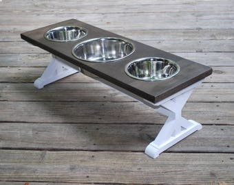 Medium - 3 Bowl- Dog Bowl Stand - Three Bowl - Raised Dog Feeder - Farmhouse Table - Elevated Dog Feeder - Dog Feeder - Dog Bowl Holder