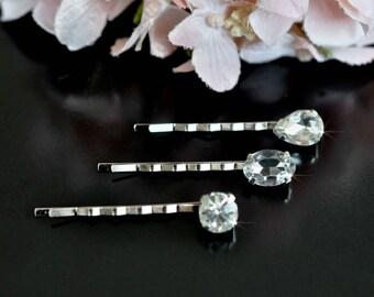 Set of 3 Handmade Sparkly Crystal Rhinestone Bridal Hair Pins (Sparkle-2444)