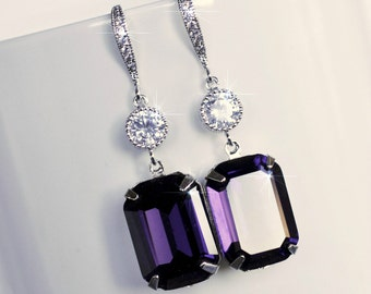 Handmade Swarovski Purple Velvet Emerald Cut Crystal & CZ Dangle Bridal Earrings, Bridal, Wedding (Sparkle-2529)