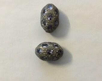 Pave white topaz tanzanite sterling silver beads
