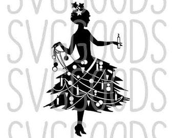 Christmas SVG, Christmas Girl svg, Christmas tree svg, tree skirt svg, holiday svg, festive svg, xmas svg, commercial use svg, vector file