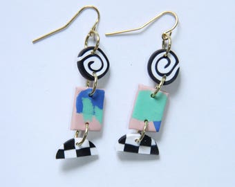 Polymer Clay Chandelier Earrings 80s Blue Green Pink Spiral Checkered Black and White