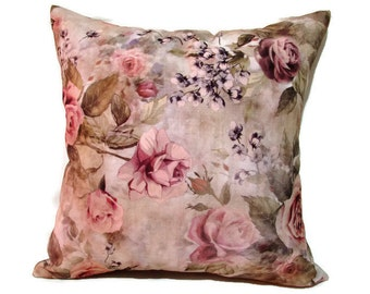 Blush Pillow, Blush Floral Pillow, Magenta Floral Bed Pillow, Pink Flotral Bed Pillows, Blush Floral Couch Pillow,  size 18x18 inches