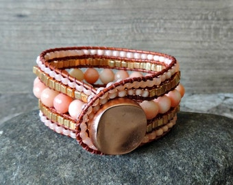 Beaded Leather Cuff Bracelet. 5 Row Cuff Bracelet. Boho Cuff. Cuff Bracelet. Leather Cuff. Beaded Leather Wrap Bracelet. Beaded Bracelet.