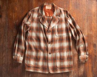 SALE Vintage 1950s Shadow Plaid Jacket