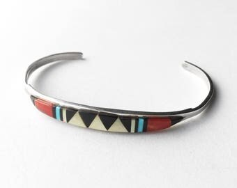 Arrow Mosaic •• Vintage Hand-Made Zuni Multi-Stone Inlay & Sterling Cuff- Signed