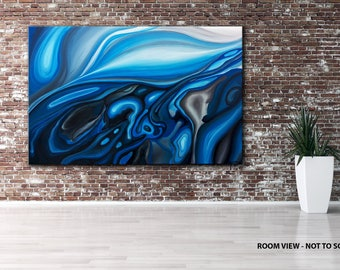 LARGE, Original ABSTRACT PAINTING, canvas, Wall Art, Modern, Contemporary, blue, white, grey