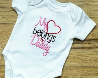 My heart belongs to Daddy, baby girl vest, baby vest, daughter daddy gift, gift for a new dad, fathers day gift, unique dad gift, new dad