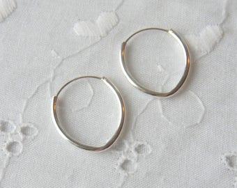 Sterling Silver Endless Hoops, Interchangeable earrings, Pear shaped ear wires