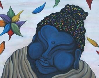 Blue Buddha Print- Buddha Print - Acrylic Print - Digital Print