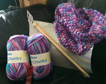 DIY knitting kit. Knit your own fab cowl (purple mix)