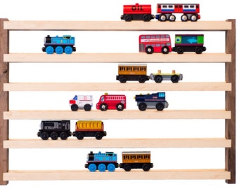Walnut & Hickory Train Rack Wall Display
