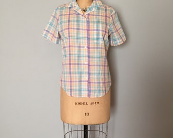 SALE ITEM...pastel plaid cotton shirt | button down shirt