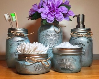 Mason jar decor etsy for Bathroom containers with lids