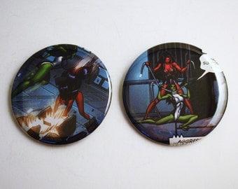 "She-Hulk vs Red She-Hulk 2.25"" Recycled Comic Button Set of 2"
