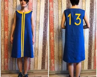 Fallout style linen tunic, flax dress, sleeveless dress, postapocalyptic dress